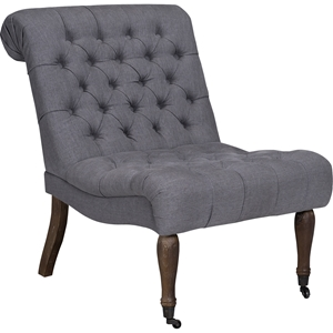 Braxton Armless Slipper Chair - Button Tufted, Samantha Gray