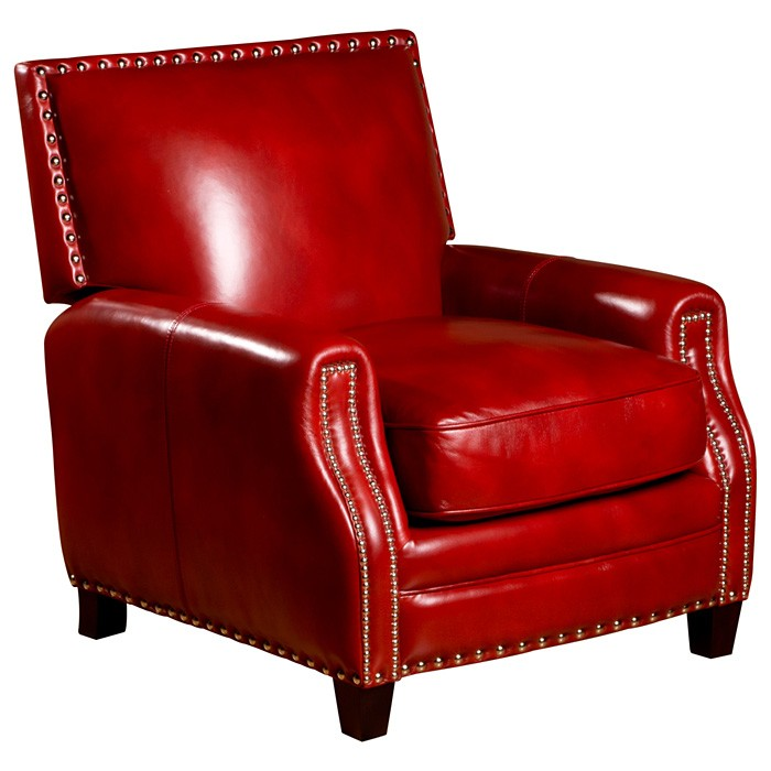 Madrid Square Press Back Chair - Nail Heads, Santiago Red Leather - OHF-2415-01SANRED