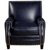 Madrid Square Press Back Chair - Nail Heads, Verona Navy Leather - OHF-2415-01VERNVY