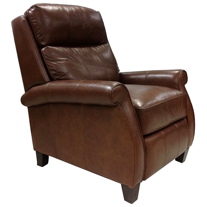 Leon Leather Recliner Chair Rolled Arms Wood Legs Dcg