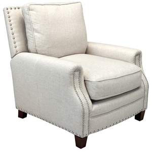 Bradford II Club Chair - Nail Heads, Brussels Linen Fabric