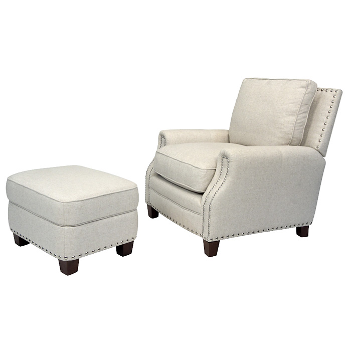 Bradford ii club chair nail heads brussels linen fabric for W furniture brussels