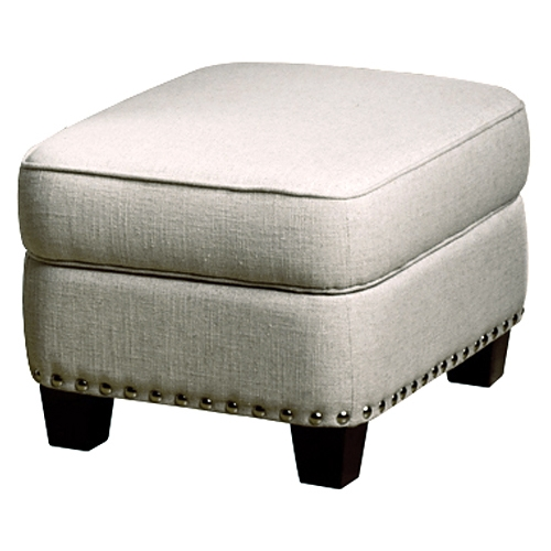 Bradford Storage Ottoman   Nail Heads, Brussels Linen Fabric