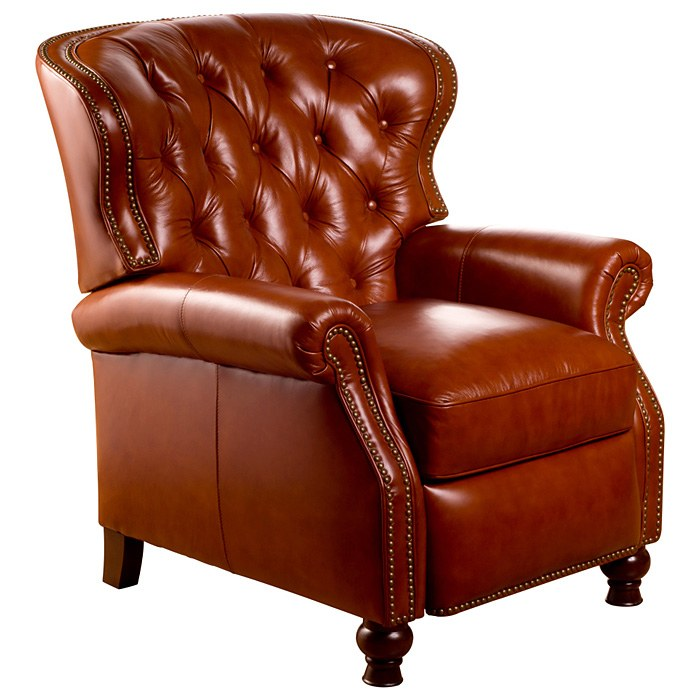 Cambridge Reclining Chair Tufted Barstow Cognac Leather