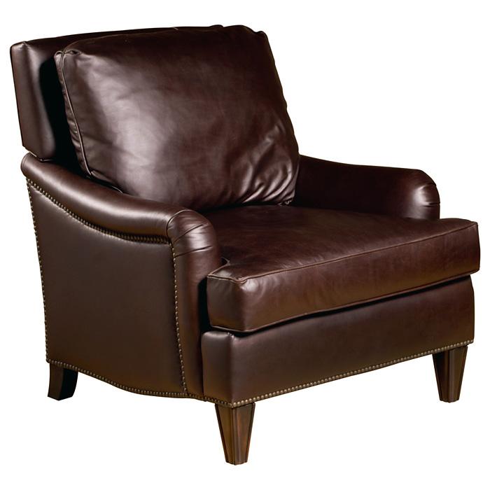 Henri Club Chair Nail Heads Dark Brown Leather