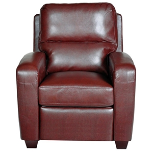 Brice Club Leather Recliner Chair - Harlee Dark Red