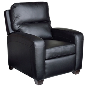 Brice Contemporary Recliner Chair - Royal Black Leather