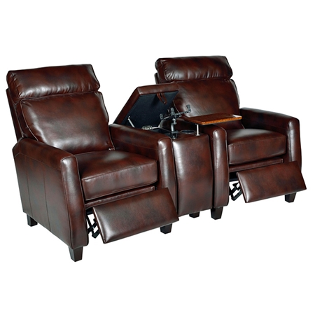 Florence 3 Piece Home Theater Seating Royal Auburn Leather Dcg Stores