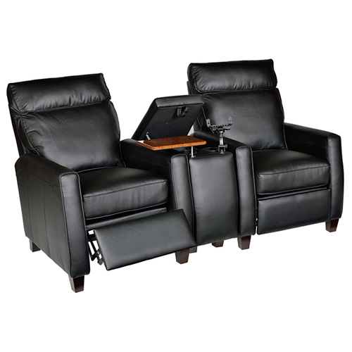 Florence 3 Piece Home Theater Seating Royal Black Leather Dcg Stores