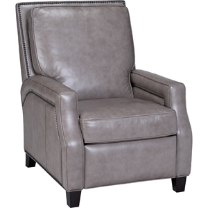 Peyton Leather Recliner - Nailhead, Cortina Light Gray