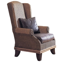 Bali Wingback Lounge Chair - Cushion, Rattan Weave