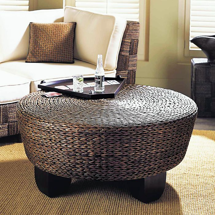Hotel California Round Ottoman Coffee Table Abaca Weave Pad Ao02