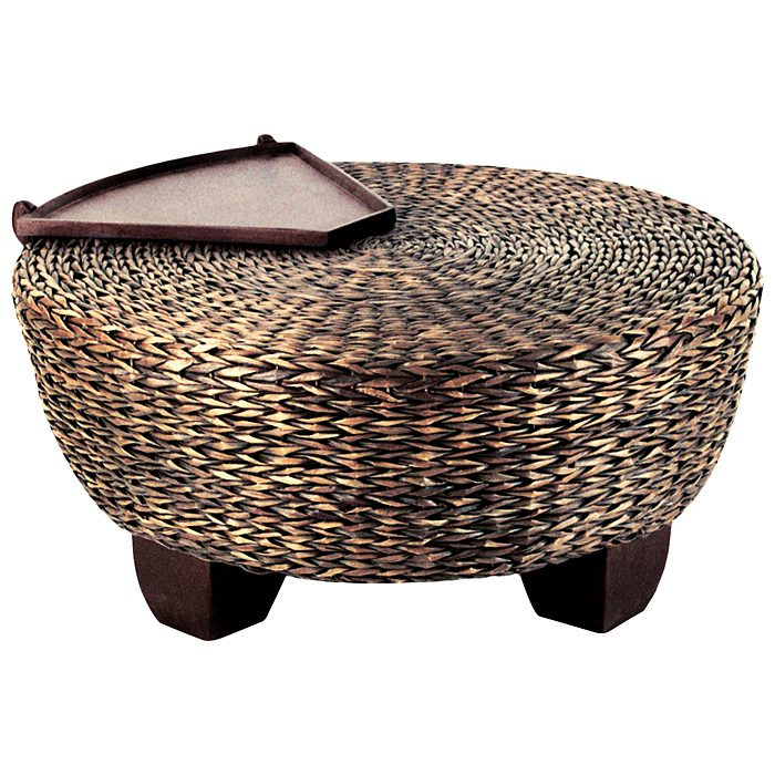 California Round Ottoman Coffee Table Abaca Weave DCG Stores