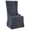 Atlantic Beach Dining Chair - Charcoal Gray Linen Slipcover - PAD-ATL12-C44