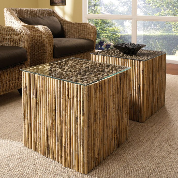 Square End Table Bamboo Stick Bunch Base Glass Top DCG Stores - Bamboo end table glass top