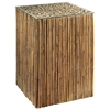 Tall Square End Table - Bamboo Stick Bunch Base, Glass Top - PAD-BAM06