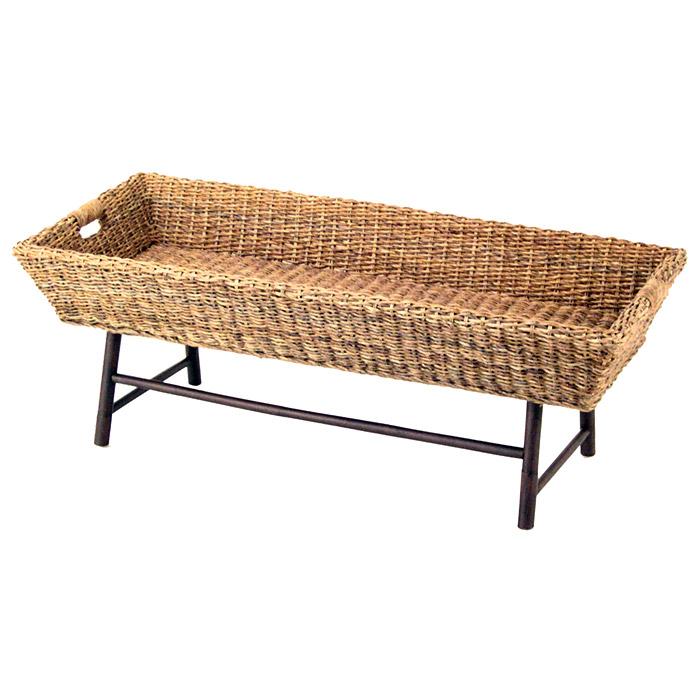 Plantation Rattan Coffee Table: Basket Coffee Table - Basket Weave Abaca