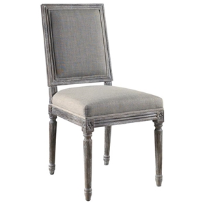 Bluff Point Dining Chair - Sand Linen, Burnt Driftwood Finish
