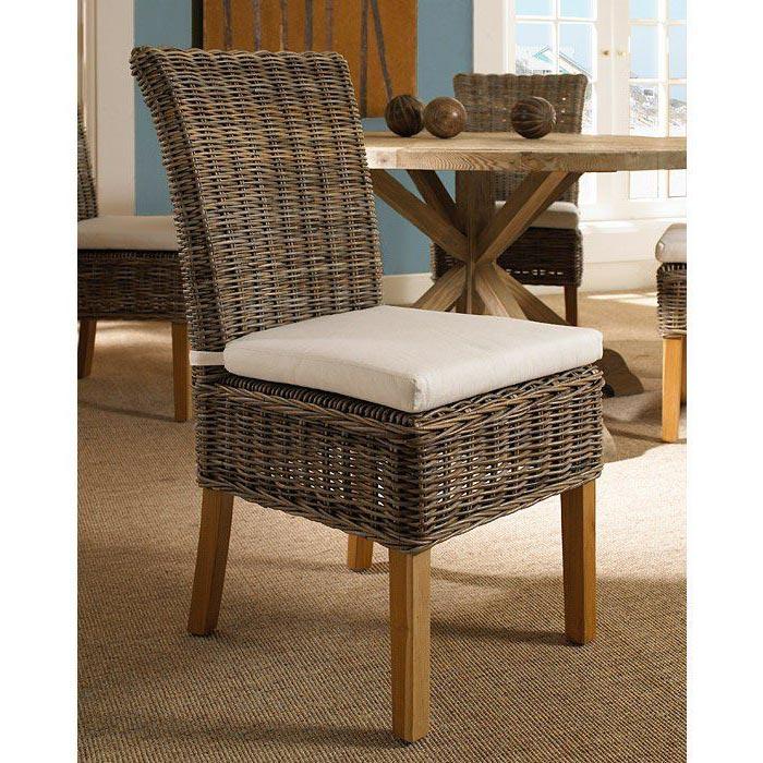 ... Boca Dining Chair   White Cushion, Gray Kubu Rattan Wicker   PAD BOC12