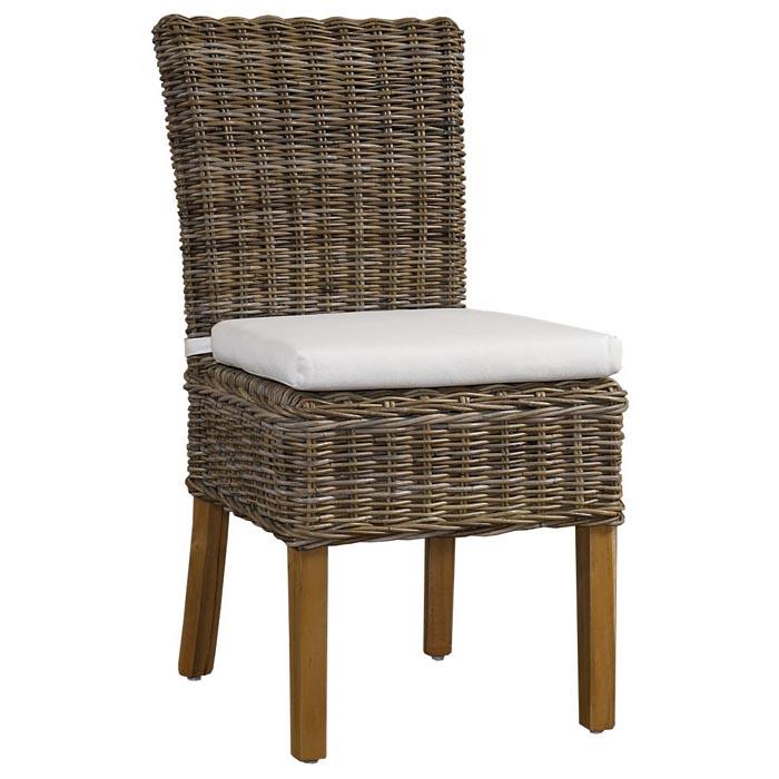 Boca Dining Chair   White Cushion, Gray Kubu Rattan Wicker   PAD BOC12  ...