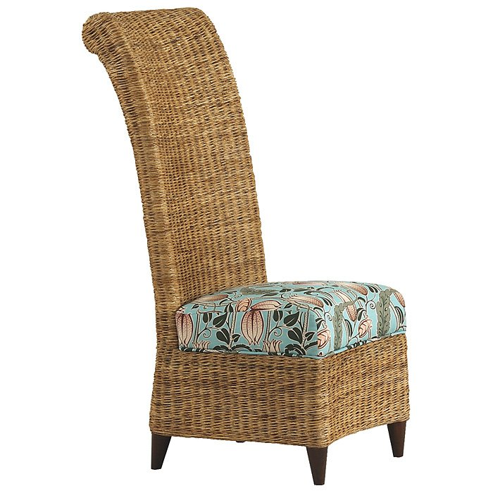 Bayside Dining Chair Roll Back Cushion Abaca Weave