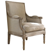 Carolina Beach Lounge Chair - Sand Linen, Burnt Driftwood Finish