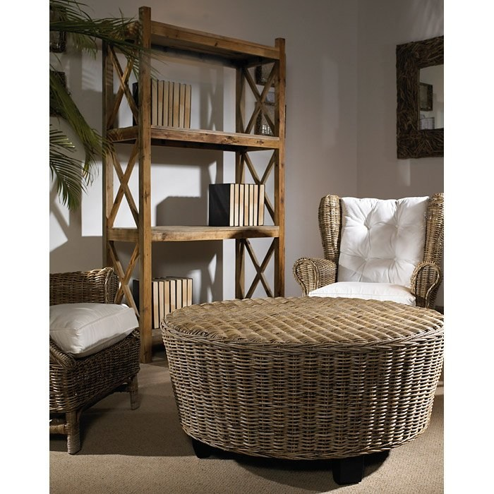 Round Wicker Coffee Table With Storage: Hotel Caribe Round Ottoman / Coffee Table