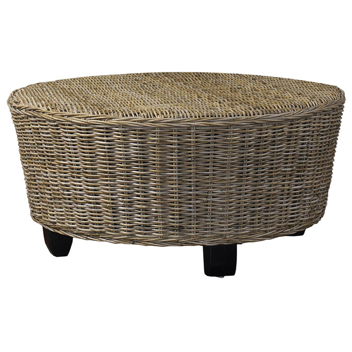 Hotel caribe round ottoman coffee table gray kubu wicker dcg stores Rattan round coffee table
