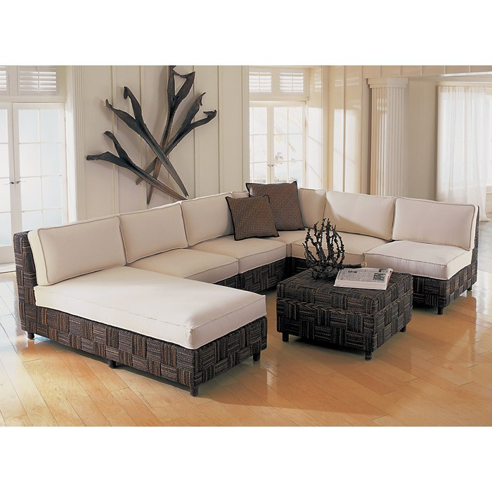 Loft Modular Sectional - Abaca Twist, White Cushions - PAD-LOFTCOLL1