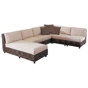 Loft Modular Sectional - Abaca Twist, White Cushions