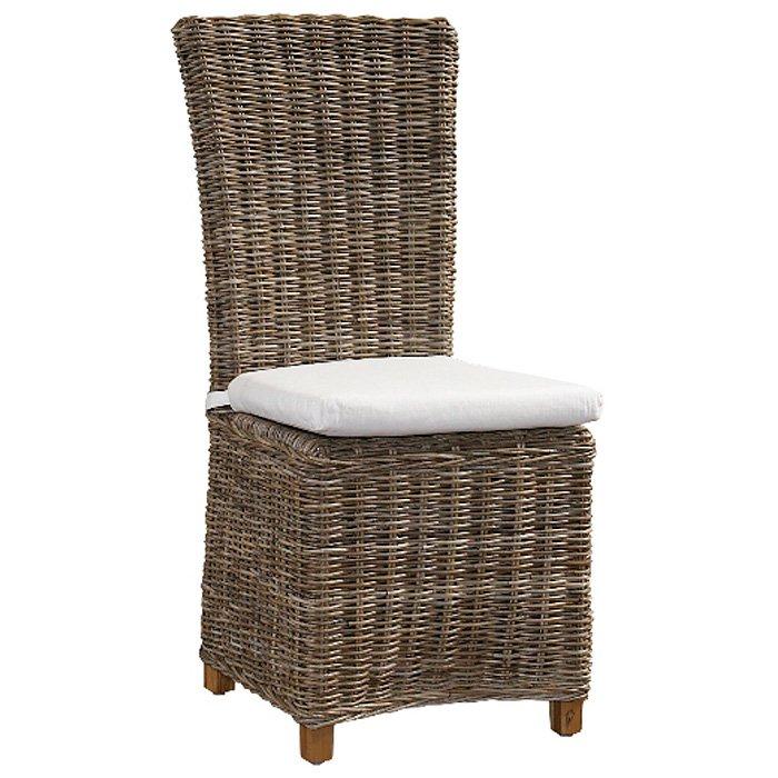 Nico Dining Chair - White Cushion, Gray Kubu Rattan Wicker