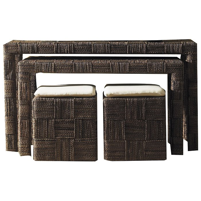 Nesting Console Table And Ottoman Set   Abaca Twist   PAD NES07 ABSSET ...