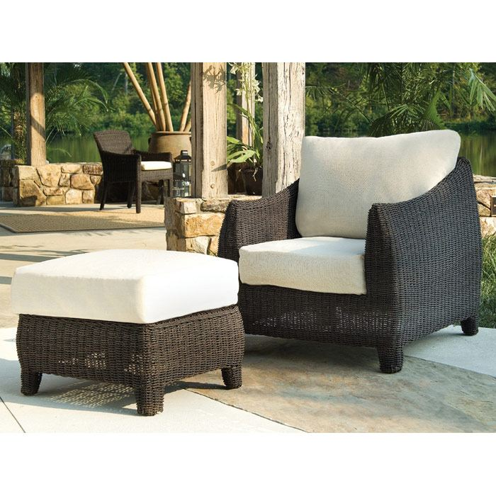 Outdoor Bay Harbor Wicker Lounge Chair and Ottoman Set - PAD-OL-BAH01-OL-BAH02
