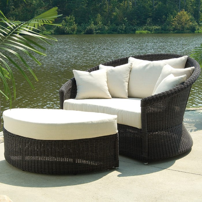 Outdoor Haven Half Moon Wicker Ottoman - Fabric Cushion - PAD-OL-HVN02
