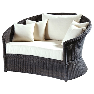 Outdoor Haven Wicker Lounge Chair - Fabric Cushion