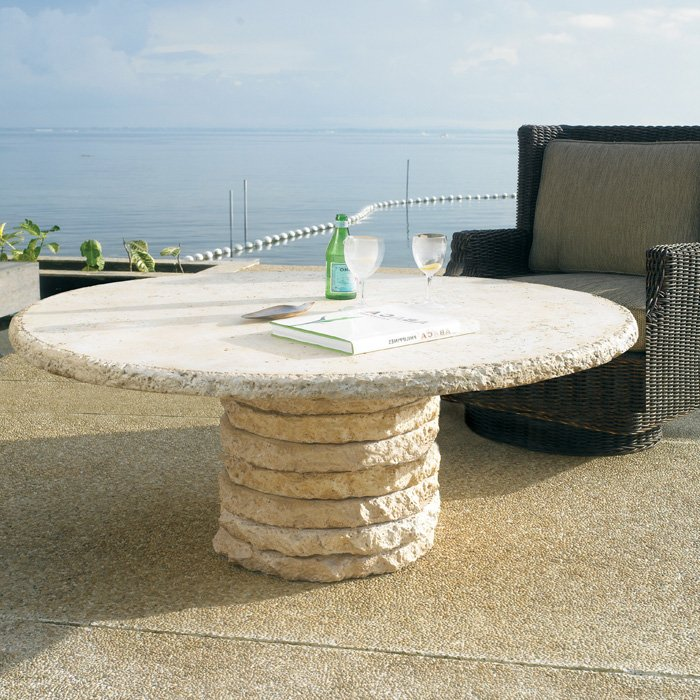 "Stone Stack 60"" Round Chat Table - PAD-OL-SSTTOP-60-OL-SST05BASE"