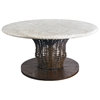"48"" Round Chat Table - Mosaic Top, Rattan Weave, Cast Stone - PAD-OL-WAVTOP-48-OL-VST05BASE"