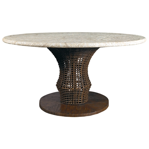 """60"""" Round Dining Table - Mosaic Top, Rattan Weave, Cast ..."""