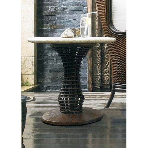 "24"" Round Side Table - Mosaic Top, Rattan Weave, Cast Stone - PAD-OL-WAVTOP-24-OL-VST06BASE"