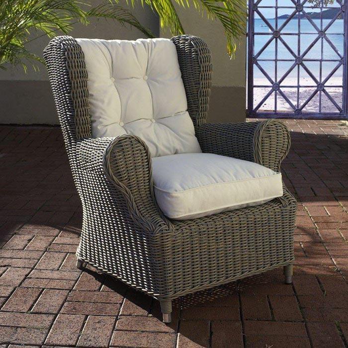 White Fabric Cushion, Gray Wicker