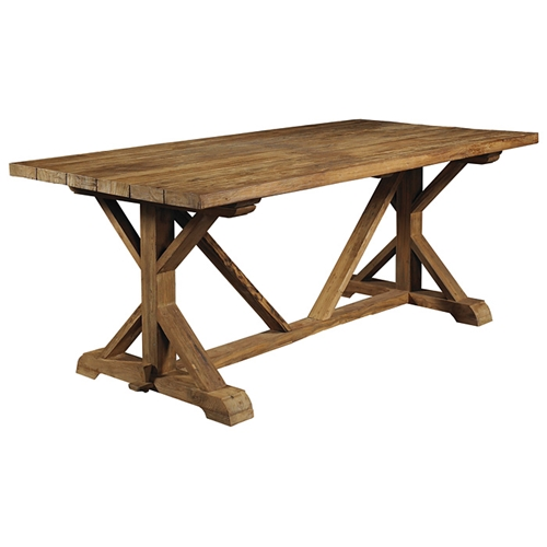 Xena reclaimed teak wood dining table rectangle dcg stores for Wood rectangle dining table