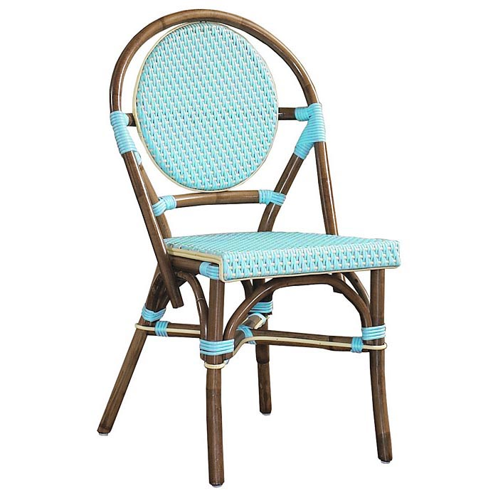 Paris Bistro Chair Brown Rattan Frame Blue Set Of 2