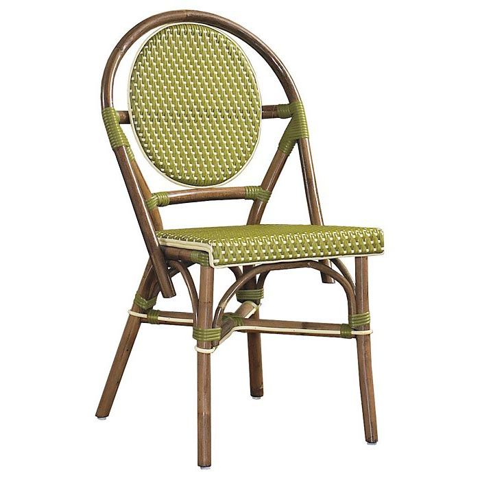 Paris Bistro Chair Brown Rattan Frame Green Set of 2