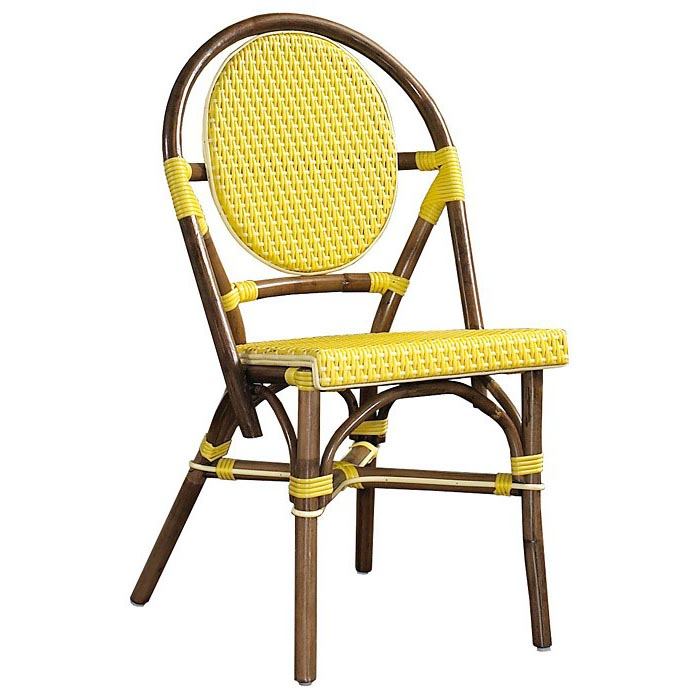 Paris bistro chair brown rattan frame yellow set of 2 for Outdoor furniture yellow