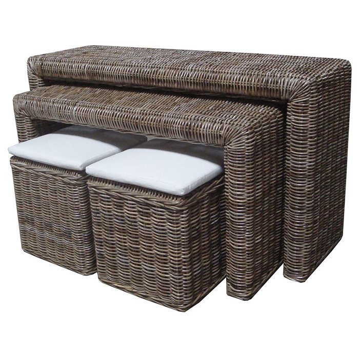 Nesting Console Table And Ottoman Set   Gray Kubu Rattan