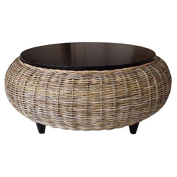 Paradise round coffee table wood top gray kubu wicker dcg stores Rattan round coffee table