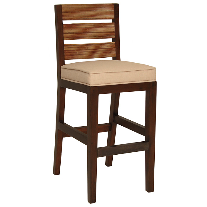 "Park Avenue 31.5"" Bar Stool - Rattan Slats, Seat Cushion - PAD-PRK14"