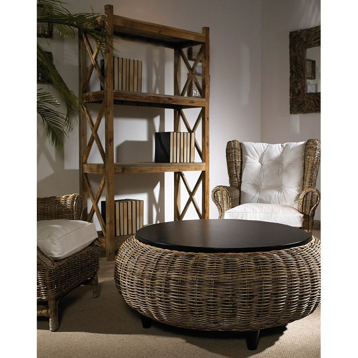 Paradise Round Coffee Table Wood Top Gray Kubu Wicker DCG Stores - Gray wicker coffee table