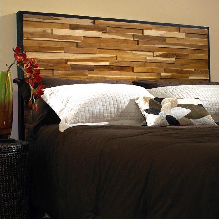 Reclaimed Teak Wood Headboard - Natural, Dark Stained Frame | DCG Stores