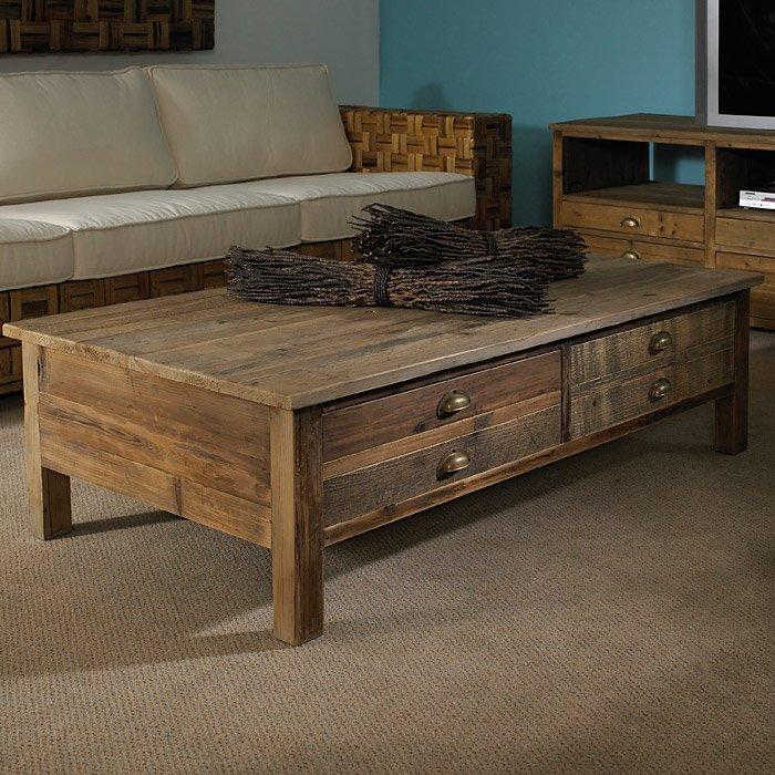 ... Salvaged Wood 2 Drawer Coffee Table   Cup Handles   PAD SAL05
